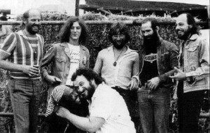 "With ZZEBRA: McCoy in front trying to put the tongue up Loughty Amaos nose; second from right is Liam Genockey; ""beards and baldness were part of the band's uniform"""