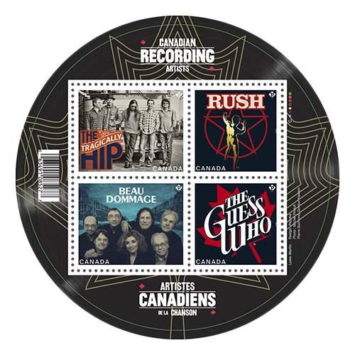 Canadian Recording Artists:  Souvenir Sheet