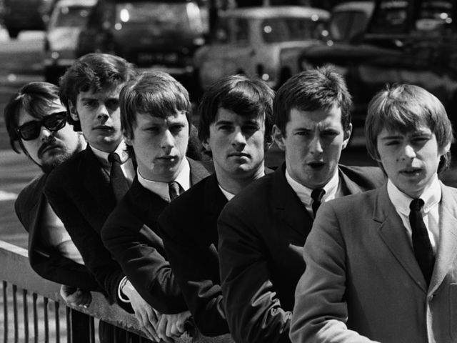 THE YARDBIRDS: Giorgio Gomelsky (manager), Paul Samwell-Smith, Chris Dreja, Jim McCarty, Eric Clapton, Keith Relf