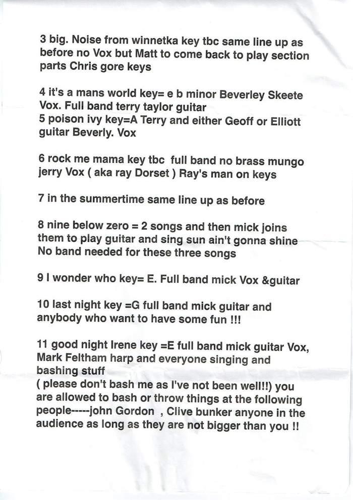 Setlist fragment