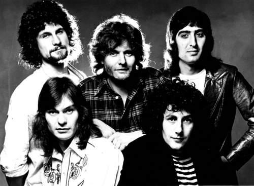 STRAWBS, 1977: Andy Richards, Dave Lambert, David Cousins, Chas Cronk, Tony Fernandez